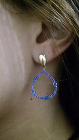 Brinco Feminino Banhado Ouro E Ródio Negro Pedra Azul Safira