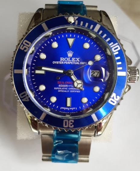 Submariner Azul Com Caixa Todo Funcional Relógio Masculino