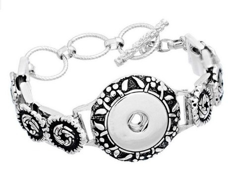 Bracelete Modelo Snap Botão De Pressão Prateado Com Cristais