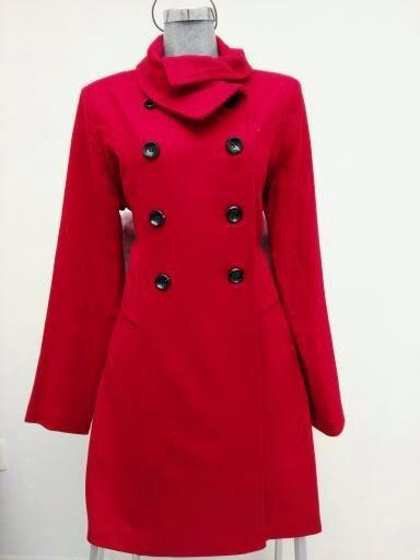 Abrigo Liso Cruzado Rojo Ropa Invierno Dama Mujer