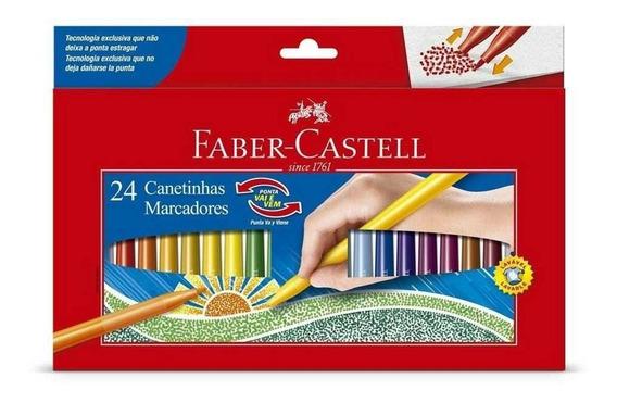 Canetinha 24 Cores Vai E Vem Faber Castell