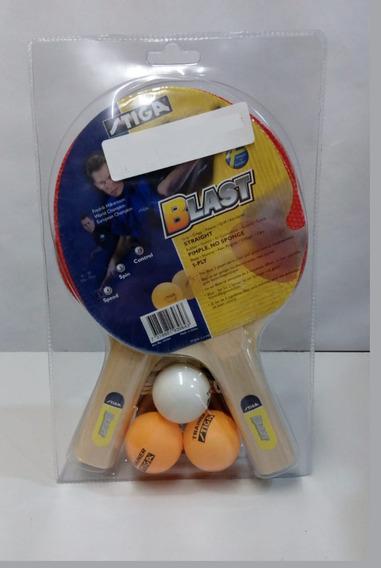 Set De Ping Pong Doble Raqueta 3 Pelotas Stiga