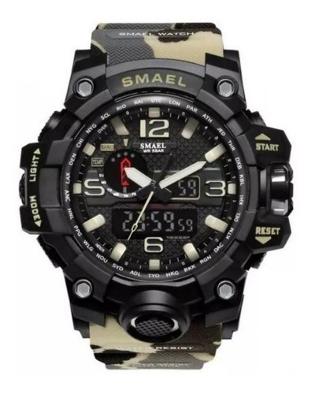 Relógio Camuflado Cor Caqui Militar Smael Pronta Entrega