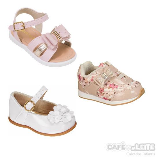Kit Com 3 Pares Calçados Infantis Menina Bebe