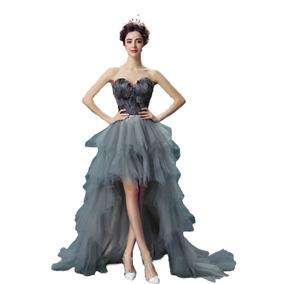 Vestido De Noche De Plumas Gris Envio Gratis ! E-9702