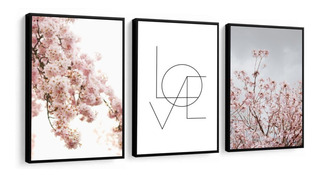Quadro Flores Rosa Delicadas Love Frase Decoração Com Vidro