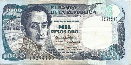 Imagen 1 de 2 de Colombia 1000 Pesos 1 Enero 1991