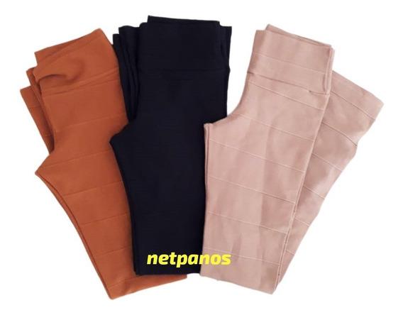 Calça Flare Bandagem Alta Comrpessao Hotpant Cintura Alta