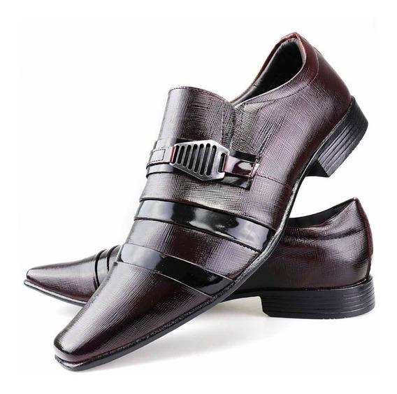 Sapato Social Couro Envernizado Masculino Stilo Italiano Dhl