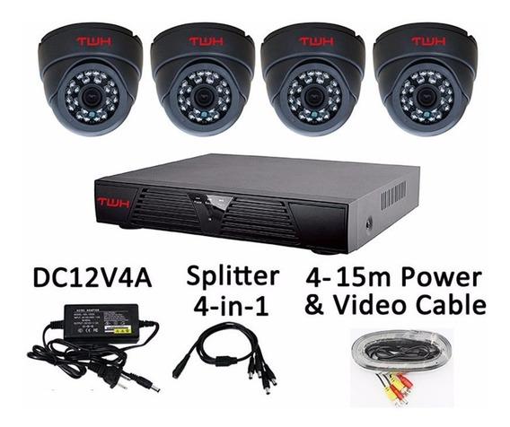 Kits De 4 Camaras De Seguridad Ahd + Dvr + Cables + Fuentes