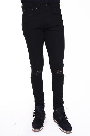 Pantalon Twill Black Chupin Con Roturas - Kout Hombre