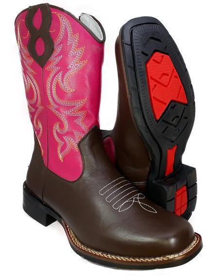 Bota Country Feminina Bico Quadrado Texana Couro Rodeio 9016