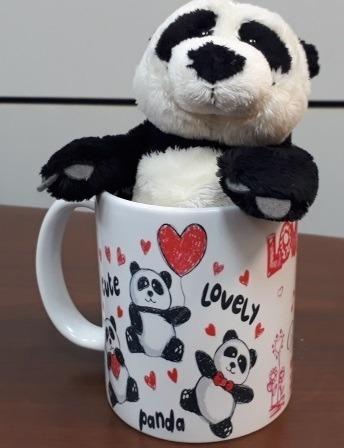 Imagem 1 de 10 de Presente Romântico Namorados Urso Panda Na Caneca Coração