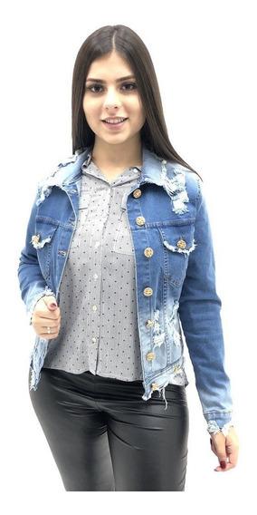 Jaqueta Alvo Da Moda Destroyed Jeans Feminino