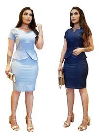Roupa Feminina Vestido Médio Jeans Com Lycra Modeladora 028