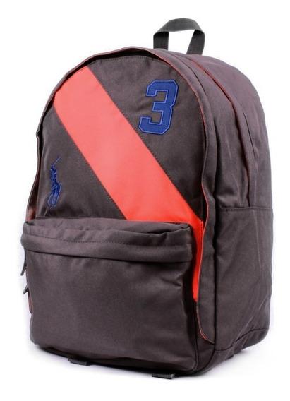 Mochila Backpack Juvenil Polo Ralph Luren Color Gris Oxford