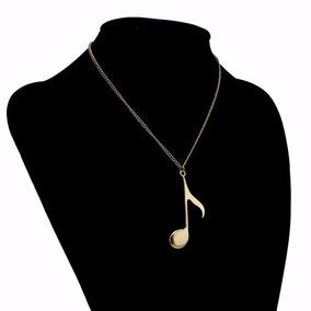 Colar Pingente Unissex Nota Musical Luxo E Elegância Dourado