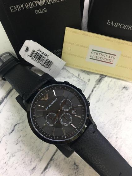 Relógio Gg0133 Classico Empório Armani Ar2461 Preto Couro