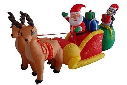 Imagen 1 de 4 de Santa Claus Y Renos De 8.5 Pies-inflable.marca Pyle