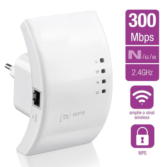 Kit 2 Repetidor Sinal Wifi Wireless Roteador 300mbps Sem Fio