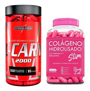 Kit Queima Colágeno 120caps Beauty + L-carnitina 120 Caps