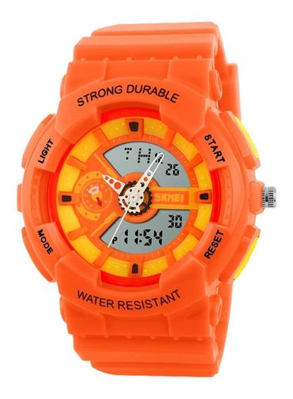 Relógio Infantil Skmei Anadigi 1052 Laranja