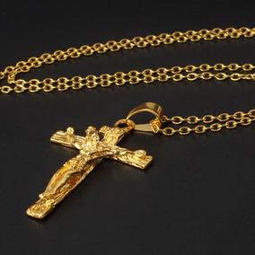 Colar Crucifixo Cordão Pingente Corrente Folheado Ouro