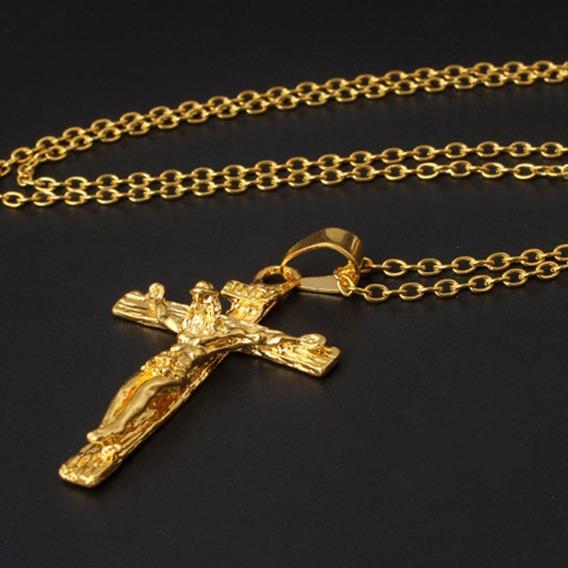 Colar Crucifixo Cordão Pingente Folheado Ouro Frete Grátis