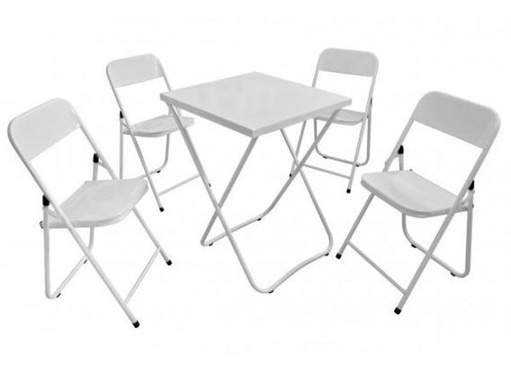 Conjunto Dobrável 01 Mesa C/ 4 Cadeiras De Metal Ferro Aço