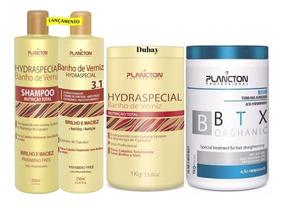 Botox Plancton + Shampoo Cond 250ml Mascara Banho Verniz 1kg