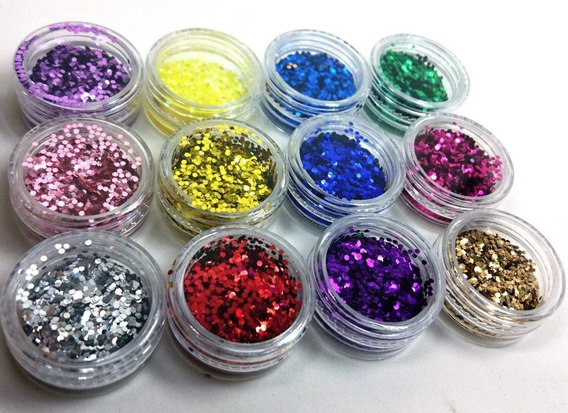 Glitter Flocado Unha Encapsulada Kit 12 Nail Art Decoração