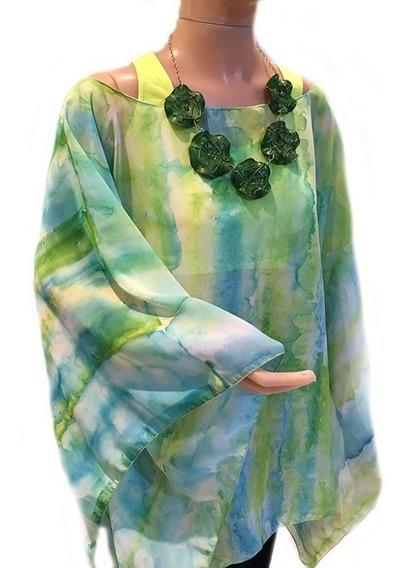 Blusas Tunicas Pintadas A Mano Dos Colores Talles Especiales
