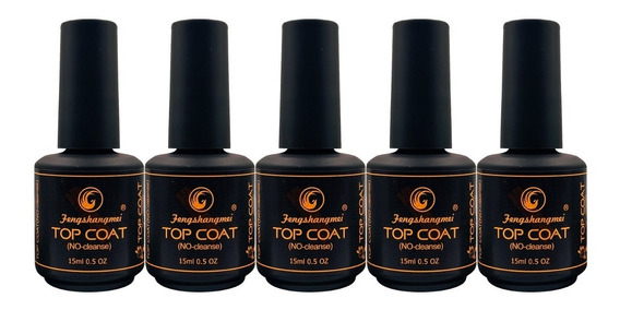 5 Top Coat Fengshangmei Pretinho Do Poder 5 Unidades Acrigel