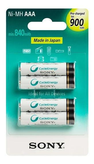 4 Pilhas Aaa Recarregável Sony Original 900mah Lacrado