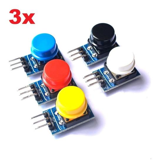 3x Kit Módulo Botão Chave Tactil 12x12 Arduino + Capa