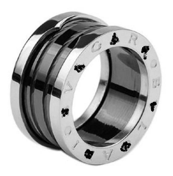 Par Aliança Anel 12mm Cerâmica Preta Em Aço Inox ( Oferta )