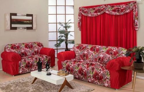 Imagem 1 de 1 de Capa De Sofá Lisa Com Estampados 3 E 2 Atacado