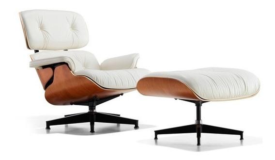 Poltrona Charles Eames Com Puff Em Couro Ecológico Branco