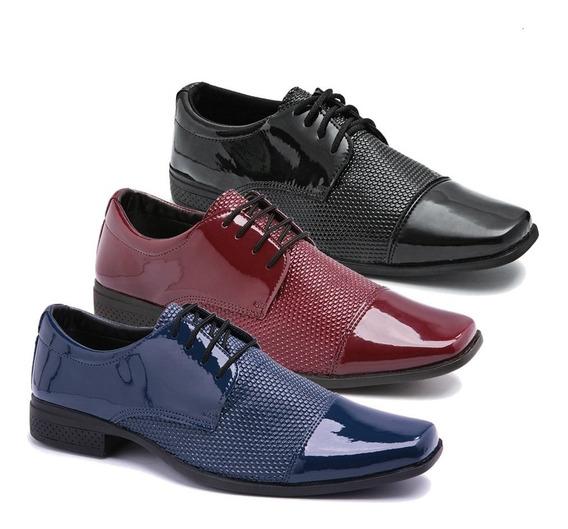 Kit 3 Pares Sapato Social Envernizado Luxuoso Leve K21