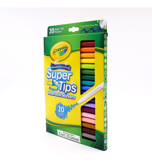 Crayola Supertips 20 Colores Plumones Lavables