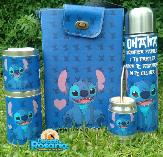 Set Matero Equipo Mate En Ecocuero Stitch Azul