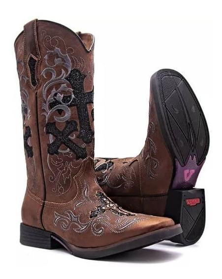 Bota Texana Feminina West Country Marrom Bordada / Glitter