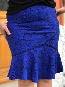 Saia Midi Jacar Plus Size Roupas Feminina Social Evangelica
