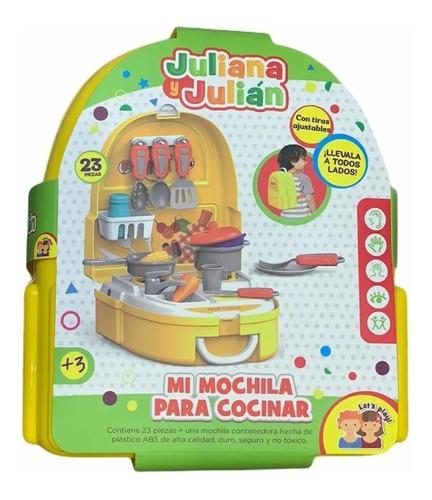 Imagen 1 de 4 de Set Valija Cocina Mochila Cocinita Comida Juliana Y Julian