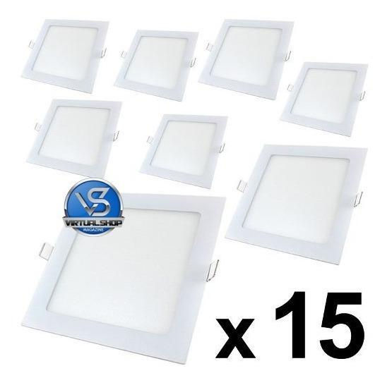 Kit 15 Plafon Led 18w Luminária Spot Embutir Gesso Sanca