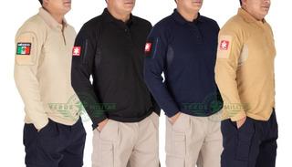 Playera Polo Camisa Tactica De Combate Manga Larga Para Parches E Insignias Uniforme De Trabajo Vestir Casual Policía