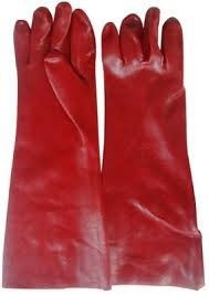 Guante De Goma Pvc Rojo De 40cm De Largo