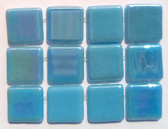 Mosaico Vítreo / Liso Nacarado /color: Azul Piscina