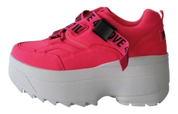 Zapatillas Mujer 47 Street Dom Plataforma Fucsia Plata