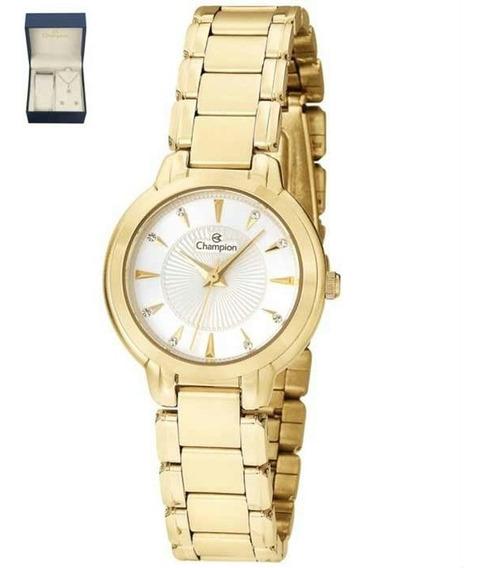 Relógio Champion Analógico Ch24937w Feminino + Semijoia